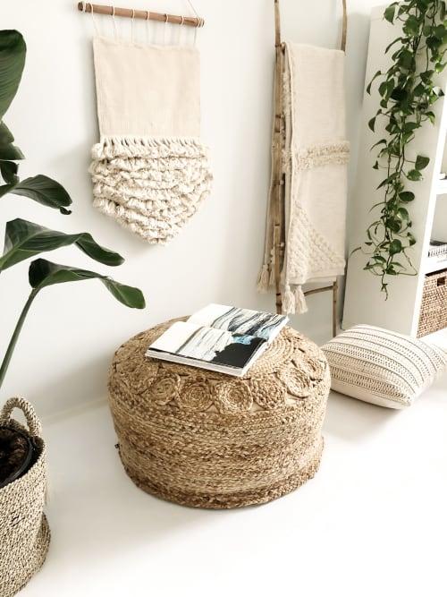 Benches & Ottomans by Coastal Boho Studio - Sol Braided Jute Bean Bag