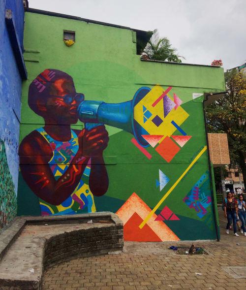Street Murals by LAMKAT seen at Medellin Area - CENTRO DE DESAROLLO CULTURAL DE MORAVIA