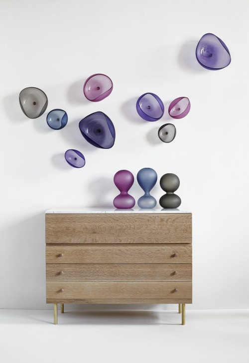 Sculptures by Jeff Goodman Studio seen at Private Residence, Toronto - Topography Wall Installation with Sagoma Vases