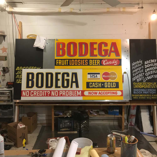 Signage by Need Signs Will Paint seen at Bodega, Los Angeles - Bodega LA Store signs