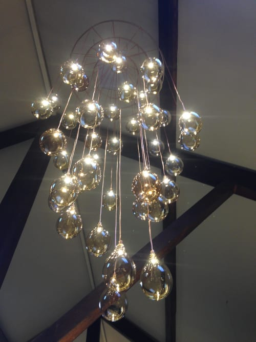 Chandeliers by Elin Isaksson Glass seen at Dewars World of Whisky, Aberfeldy - Bespoke chandelier