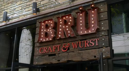 Signage by Marc DiGiaimo Design seen at Brü Craft & Wurst, Philadelphia - Brü Craft & Wurst  Signage