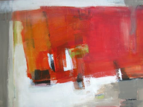 Paintings by Trudy Montgomery seen at Private Residence, Bath - Red Abstract Painting