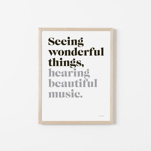 "Paintings by Honey & Bloom seen at Private Residence, San Francisco - ""Seeing wonderful things, hearing beautiful music"" and ""Making waves, oceanside"""
