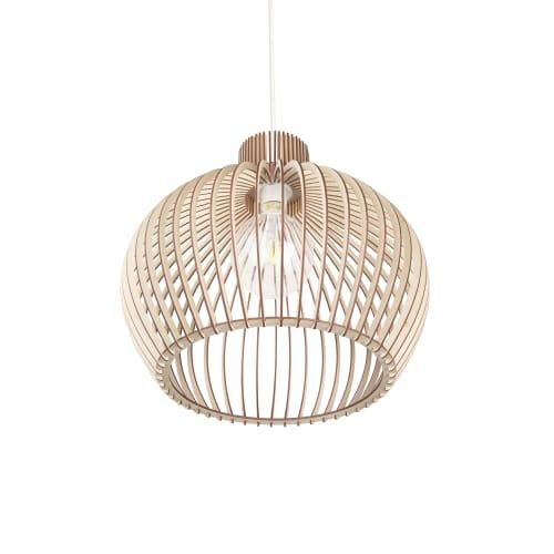 Lamps by ANEKOdesign seen at Miya Japanese grill and bar, Aylesbury - Wooden Ceiling Lamps 'Liset 100'