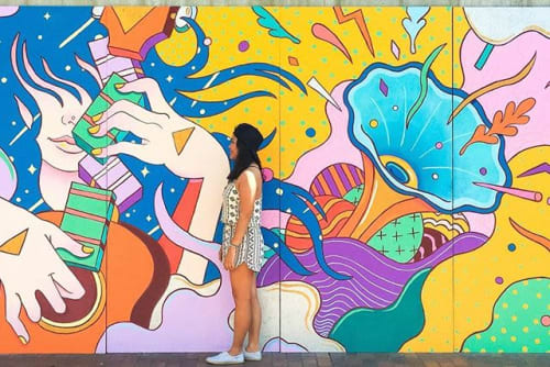Street Murals by Kent Yoshimura seen at Little Tokyo, Los Angeles - Distance Between the Stars