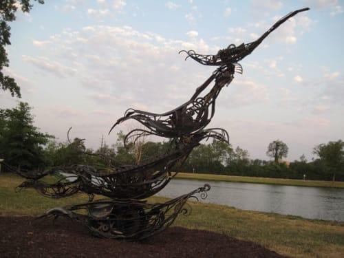 Sculptures by Sayaka Ganz seen at Purdue University Fort Wayne, Fort Wayne - Birds in the Billows