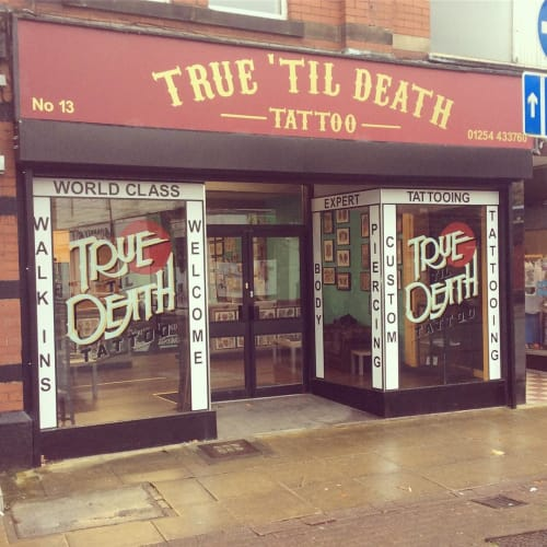 Signage by Journeyman Signs (TATCH) seen at True 'Til Death Electric Tattoo Co., Accrington - True 'Til Death Sign Letterings