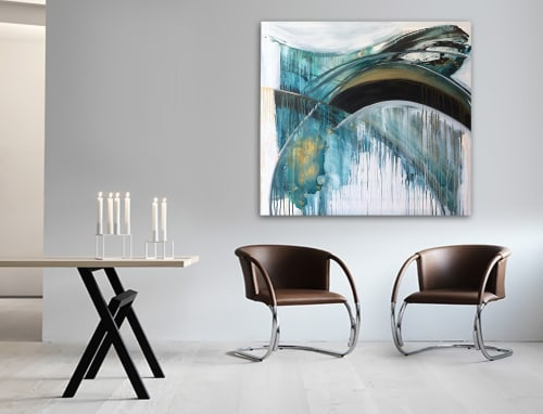 Paintings by Linnea Heide contemporary fine art seen at Private Residence, Vancouver - 'VALKYRiE' original abstract painting by Linnea Heide