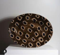 Ceramic Plates by Ali Hewson seen at Creator's Studio, London - Cobalt Dash Large Oval Platter