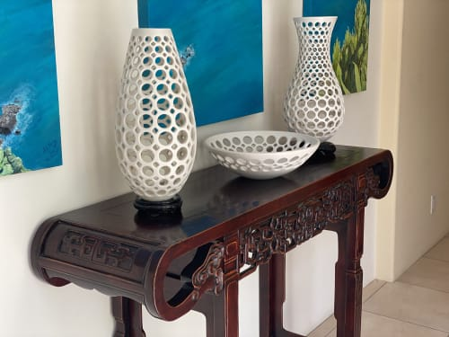 Sculptures by Lynne Meade seen at Private Residence, Oakland - Elongated Teardrop Lace Vessel