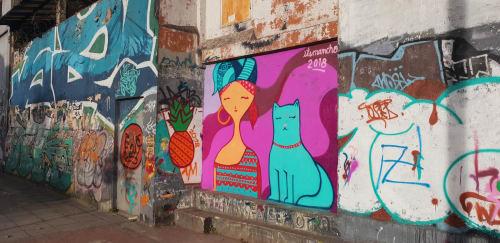 Street Murals by Its mancho seen at Avenida NQS, Bogotá - Cat lover