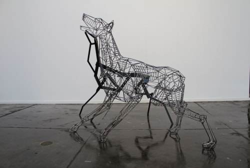 Sculptures by Cezary Stulgis seen at West End Art Space, West Melbourne - Anthropomorphism-Series of dog sculptures