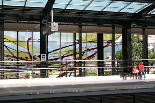 Murals by Guy Kemper seen at Mount Baker, Seattle - Blown glass installations for Mt Baker light rail station