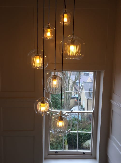 Lamps by Marc Wood Studio seen at Private Residence, London - Pleated Crystal Pendant
