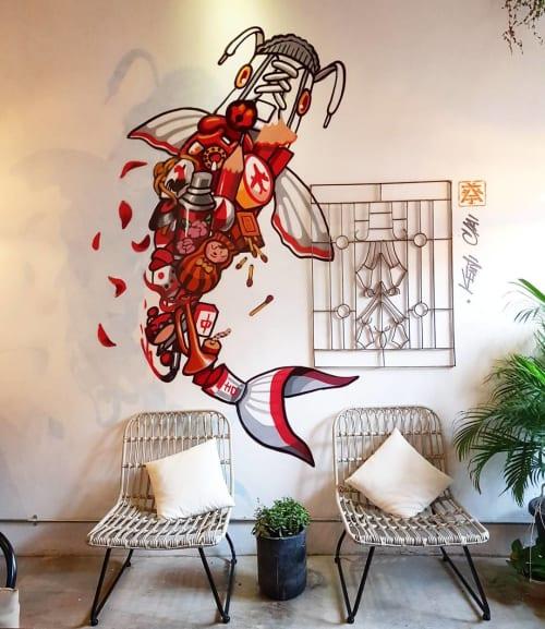 Murals by Kenji Chai seen at Heesan Kopi, Melaka - Retro Koi Fish