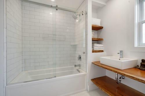 Bathroom slab counter tops | Furniture by Mako Woods