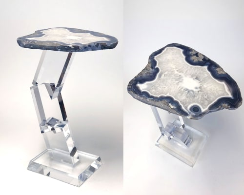 Tables by Ron Dier Design seen at Philharmonic House of Design in Ritz cove, Orange County, California, Dana Point - Brick-A-Brack acrylic table
