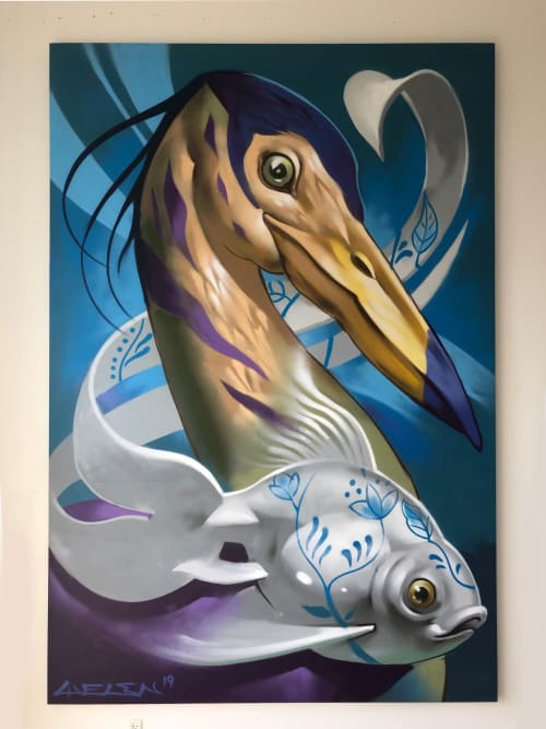 Murals by Welin mural art seen at Private Residence, Sønderborg - Heron - indoor mural