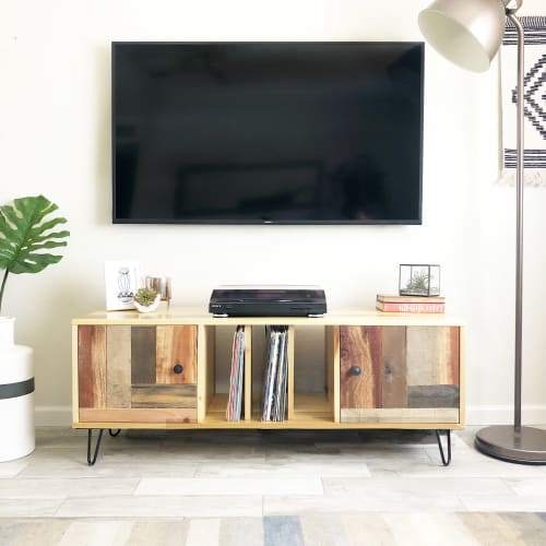 Furniture by Tipsy Oak seen at Private Residence, Phoenix - Rustic Mid-Century inspired Record Media Unit