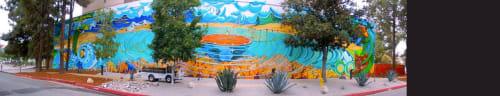 Murals by Paul Santoleri seen at Pitzer College, Claremont - bridges of change