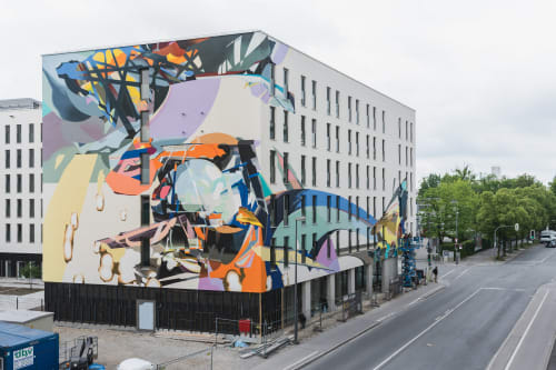 Murals by SatOne seen at NYX Hotel Munich, München - Collission