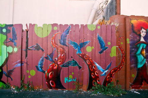Street Murals by Lindsey Millikan (Milli) seen at 1st Av:International Blvd, Oakland - Parking Lot Collab