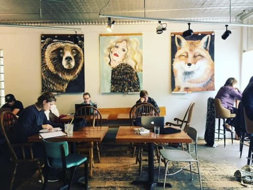Paintings by Natalie Jo Wright seen at Johnson Public House, Madison - Large Scale Paintings on paper hanging at Madison Cafe