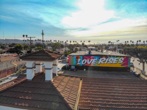 "Street Murals by Ruben Rojas seen at 3401 Somerset Dr, Los Angeles - ""Love Rises"""