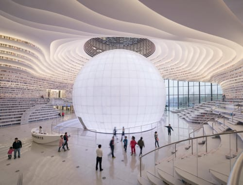 Tianjin Binhai Vocational College College Library, Public Service Centers, Interior Design