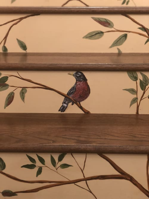 Murals by Lara Eve Studios seen at Private Residence, Irvine - Stairway Mural Tree with Birds