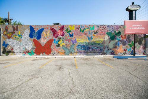 Street Murals by Marisabel Bazan seen at John & Pete's Fine Wine & Spirits, West Hollywood - Dance of the Butterflies
