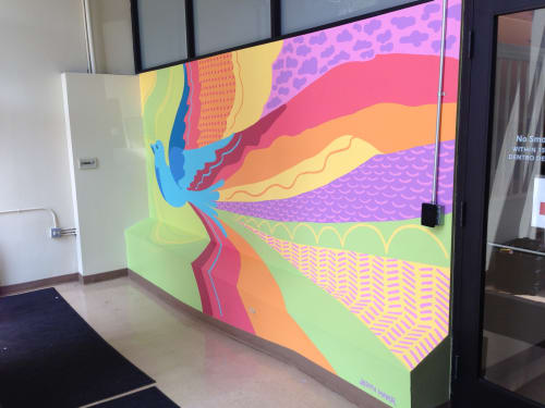 Murals by Judith Mayer seen at Chicago Workforce Center, Chicago - Wake of Happiness