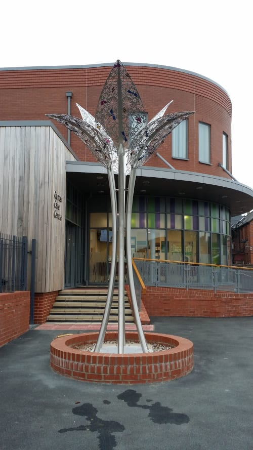 Public Sculptures by Ruth Moilliet Sculpture seen at Wigan hospital, Wigan - Tree and Bud sculpture