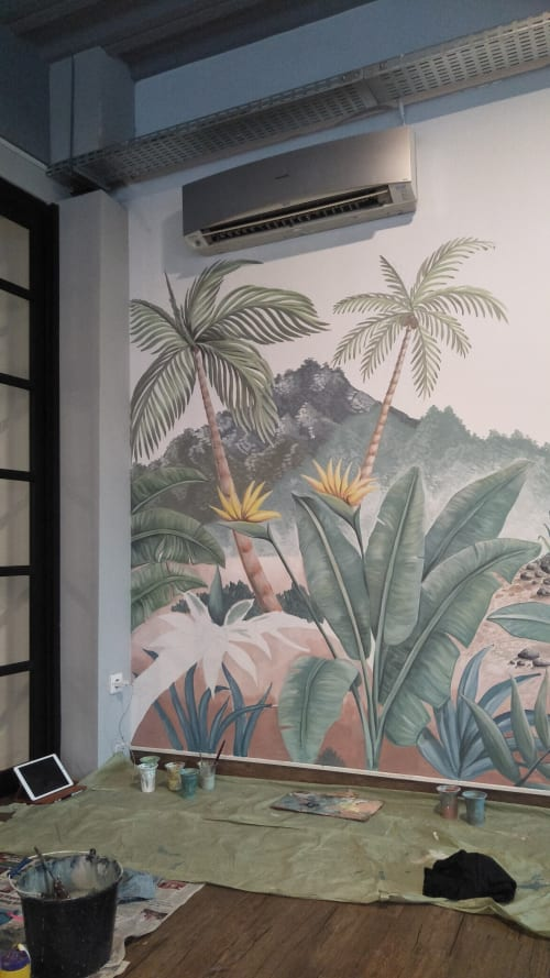 Murals by Enis Art seen at Private Residence, Central Java - Tropical murals