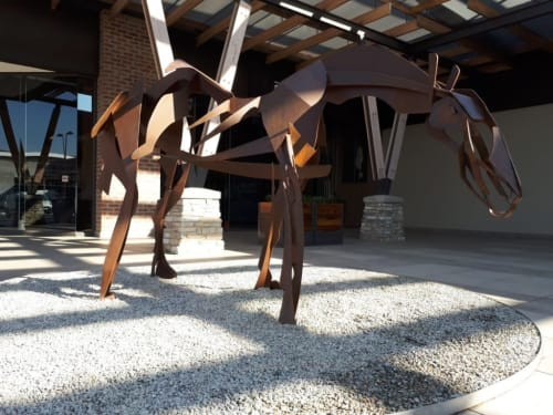 Public Sculptures by Mark L Swart seen at Kyalami Corner Shopping Centre, Midrand - Horse