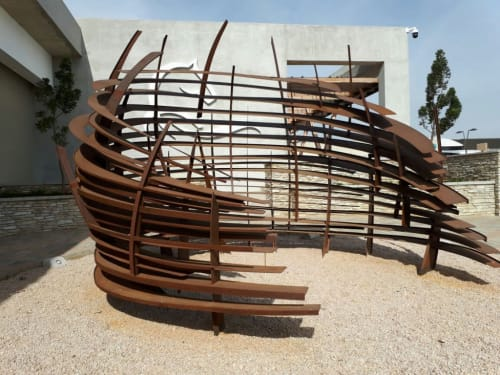 Public Sculptures by Mark L Swart seen at Kyalami Corner Shopping Centre, Midrand - Horse Shoe