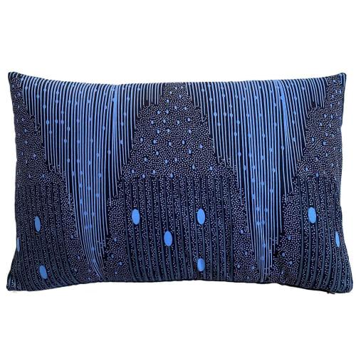 Pillows by mumutane seen at Copenhagen, Denmark, Copenhagen - Ijoko blue bird 30x40 cm and Iki dot 40x60 cm
