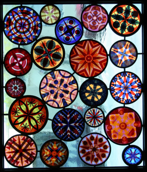 Sandblasted stained glass panel | Art & Wall Decor by Kate Gakenheimer Stained Glass