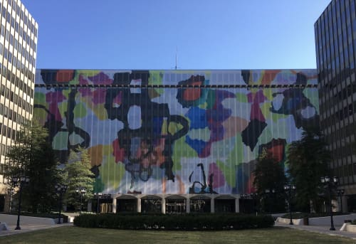 Murals by Adrienne Shishko seen at 1851 S Bell St, Arlington - Urban Camo