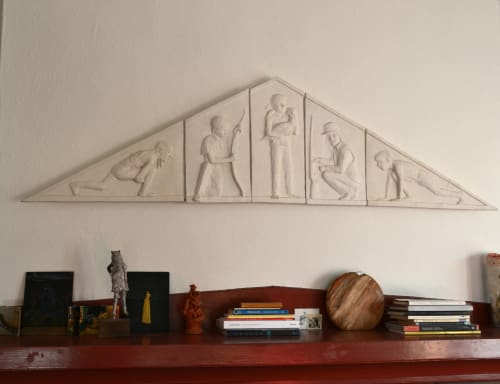 "Sculptures by Cynthia Lahti Fine Art at Private Residence, Portland - Safety Pediment Bas-Relief - 16"" x 62"" x 2"""