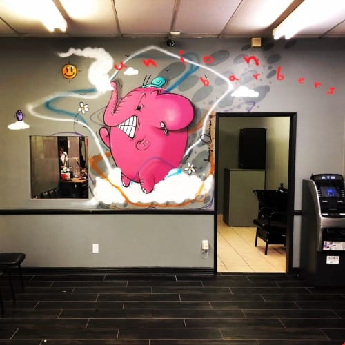"""Murals by AngelOnce seen at Union barbershop, Upland - """"Charlie the Angry Elephant"""""""