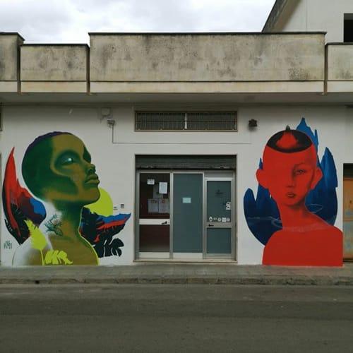 Street Murals by Ale Senso seen at Galatina, Galatina - Mimesi & Nemesi