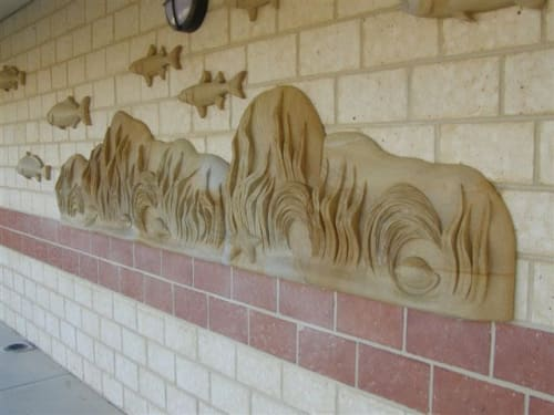 Sculptures by Mehdi Rasulle seen at Shark Bay School, Denham - Wall Sculpture