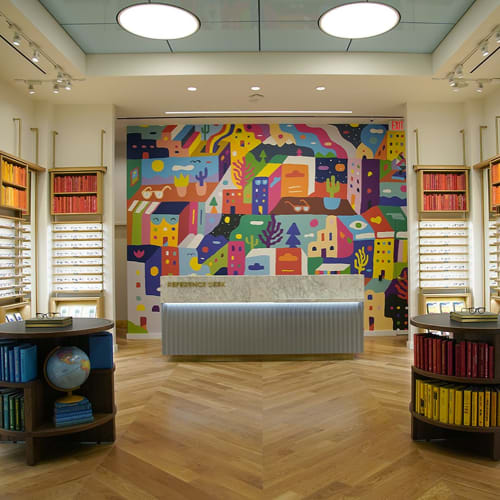 Murals by Kristopher Kanaly seen at Warby Parker Oklahoma City, Oklahoma City - Warby Parker Classen Curve Mural