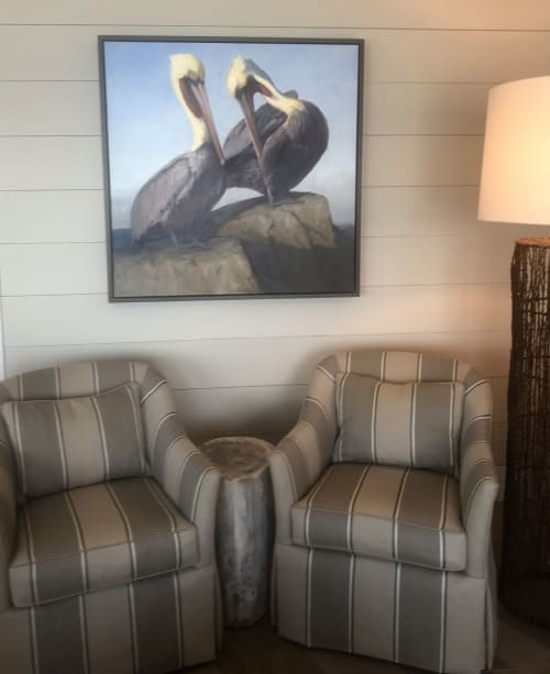 "Paintings by Kathleen Dunphy Fine Art seen at Private Residence, Houston - ""Duo"" 40x40 o/c of brown pelicans"