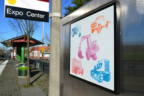 Public Mosaics by Cynthia Lahti Fine Art at N Lombard TC MAX Station, Portland - Happy Five