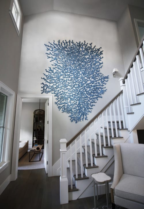 Murals by Carson Fox Studio seen at Private Residence, Westhampton - Blue Coral Escape