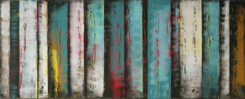 Paintings by Ronald Hunter seen at Roxier Art Gallery, Rotterdam - Turquoise Panels