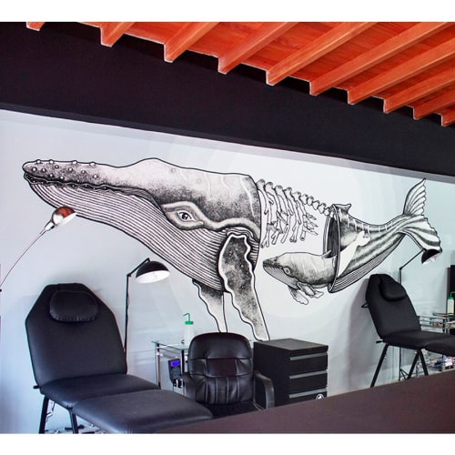 Murals by Godie Arboleda at Angrymom Tattoo Envigado, Envigado - Full of love whale mural